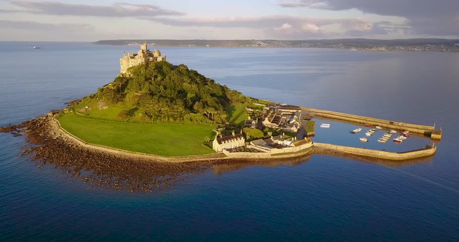 Aerial view of St Michaels mountain near Marazion, Cornwall