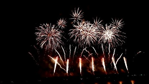 Fireworks in Colombinas feast in Huelva, Andalusia, Spain. Conmemorates the departure of the  first voyage of Christopher Columbus  in 1492 when reached the New World