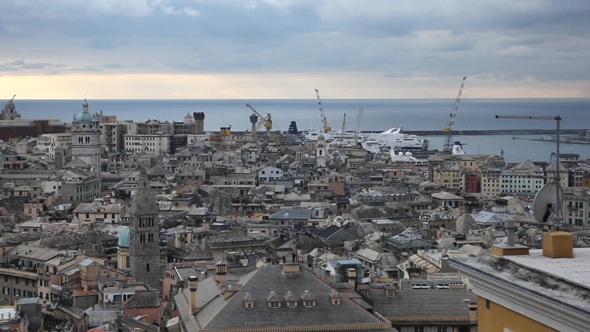 Aerial View Of Genoa Skyline Stock Footage Video 100 Royalty Free 2970907 Shutterstock