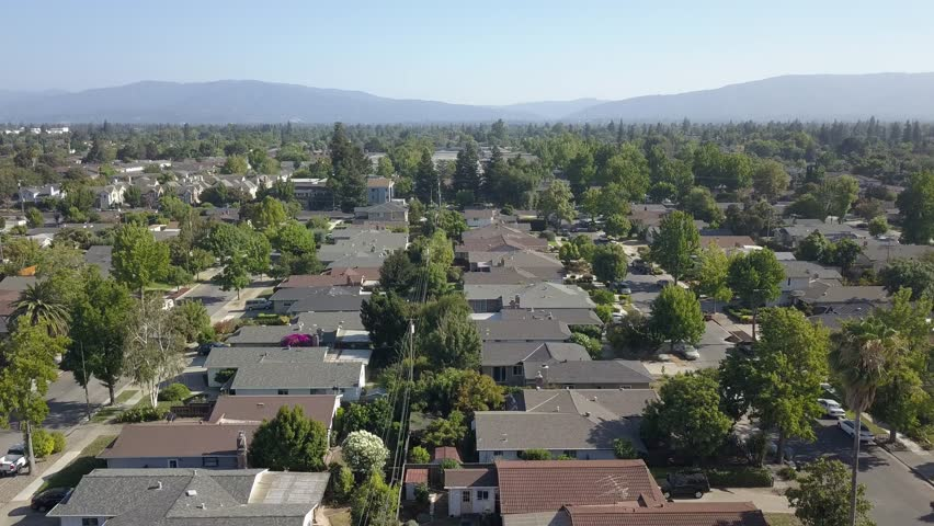 Ariel view of San Jose California suburbs, San Jose California Houses Ariel view, summer in San Jose California, A beautiful sunny say in the neighborhood.