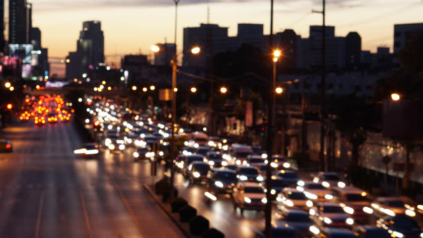 Time Lapse : Abstract blurred traffic jam at Rama IV road in Bangkok, Thailand - Zoom effect
