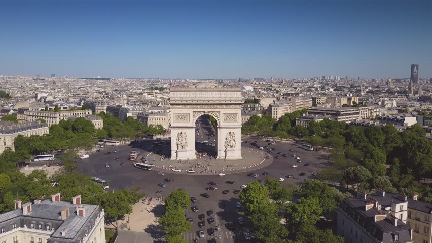 Sunny summer day paris city famous arch de triumph aerial panorama 4k time lapse france | Shutterstock HD Video #29776366