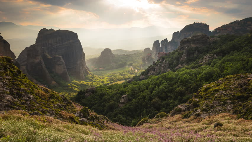 Sun rays chase over a picturesque Meteora view