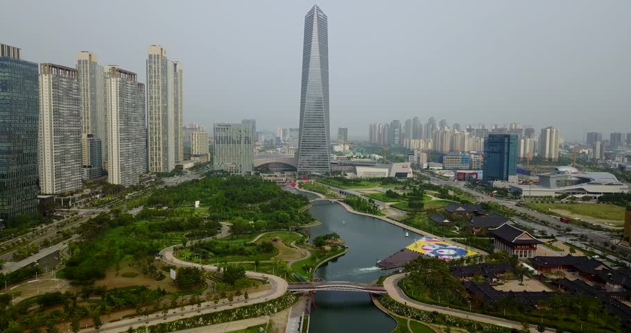 Aerial Of Songdo Central Park, Incheon, South Korea | Shutterstock HD Video #29811196