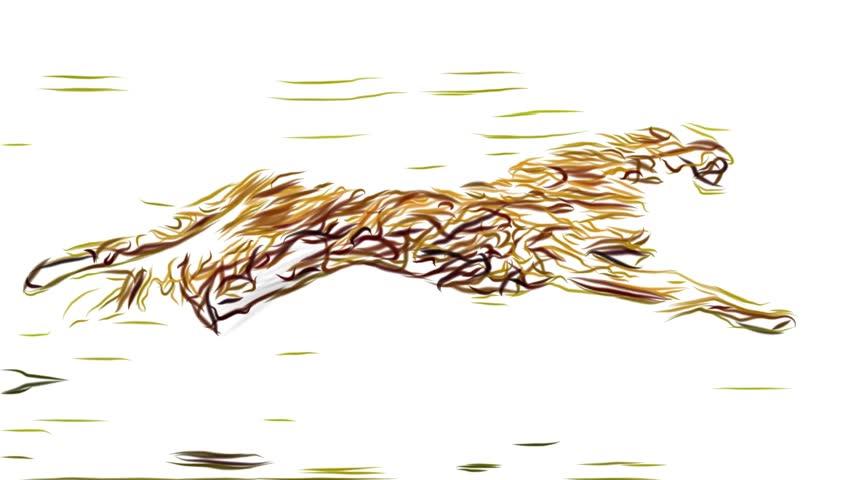cheetah running pencil draw cartoon animation seamless endless loop \ new quality unique handmade dynamic joyful colorful video animal cat footage