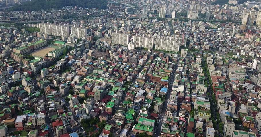 Aerial Near Hongdae, Seoul, South Korea