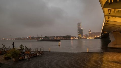 Early morning in Rotterdam, the Netherlands - Time lapse