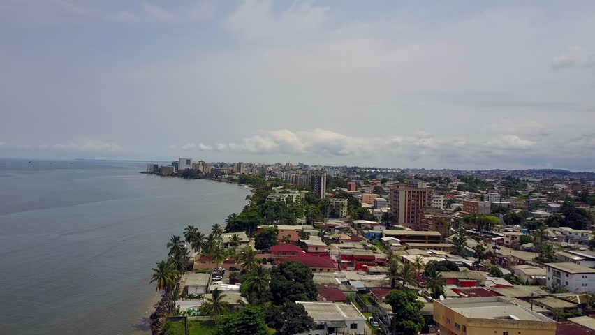 Aerial Africa city beach coast - Libreville Gabon - drone fly over | Shutterstock HD Video #29926096