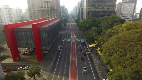 Sao Paulo, Brazil, August, 2017. Aerial view on Paulista Avenue, in Sao Paulo city