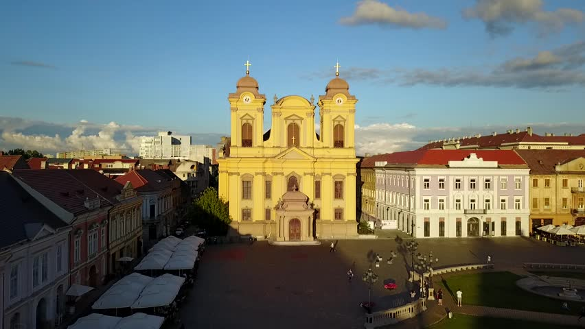 Zooming towards St. George Cathedral in Timisoara, Romania