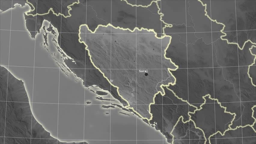 The Bosnia And Herzegovina area map in the Azimuthal Equidistant projection. Layers of main cities, capital, administrative borders and graticule. Elevation & bathymetry - grayscale | Shutterstock HD Video #29963326