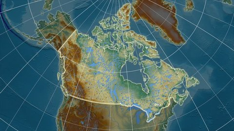 The Canada area map in the Azimuthal Equidistant projection. Layers of main cities, capital, administrative borders and graticule. Relief map