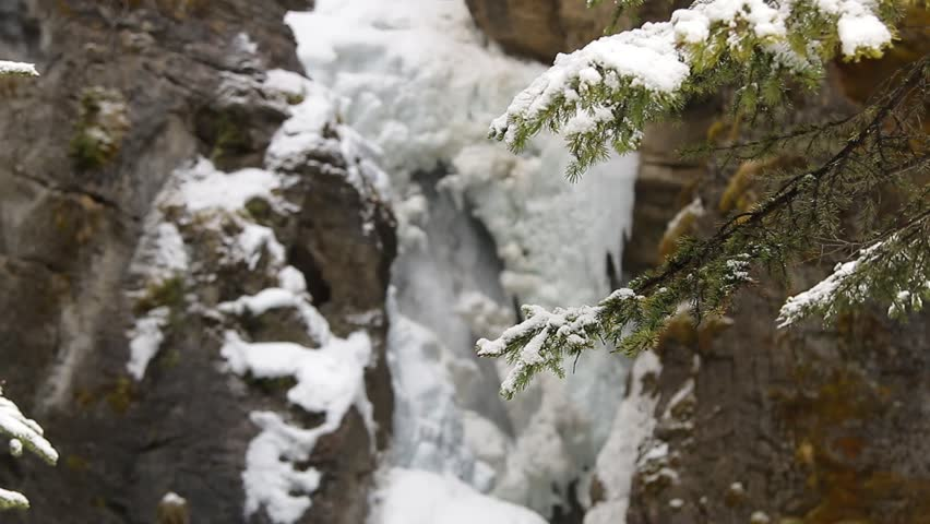 Partially Frozen waterfall at Johnston Canyon