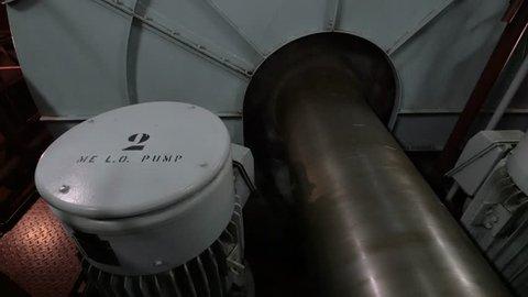 Propeller shaft and flywheel of ship