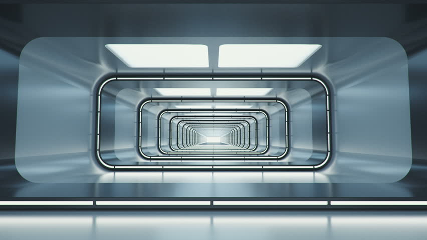 Spaceship corridor. Futuristic tunnel with light, interior view. Future background, business, sci-fi or science concept. 3d rendering. | Shutterstock HD Video #30022216