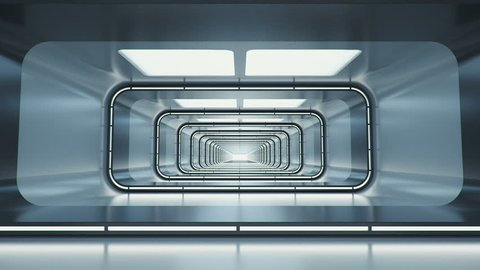 Spaceship corridor. Futuristic tunnel with light, interior view. Future background, business, sci-fi or science concept. 3d rendering.