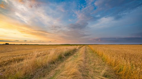 4k timelapse of rural landscape with stubble field at beautiful sunset. 3840x2160