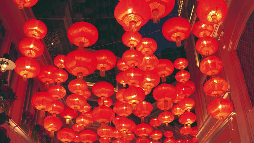 Chinese new year red paper latern decoration in Hong Kong city.