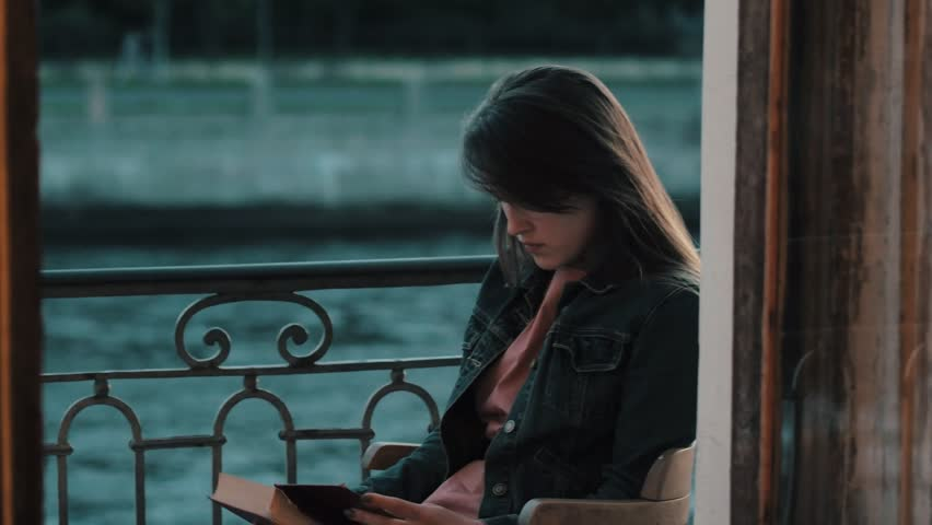 Young woman student reading literature on a summer evening on balcony | Shutterstock HD Video #30031876