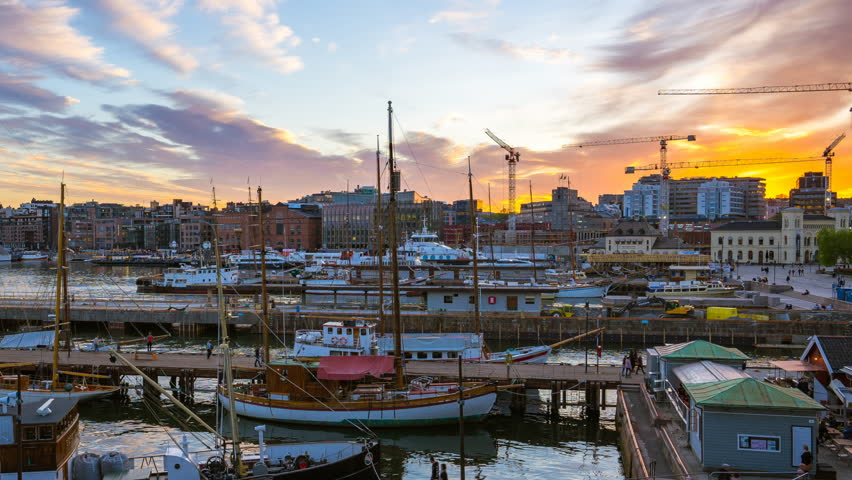 Video time lapse view of yachts in Oslo Harbor, Oslo Fjord at night in Oslo city, Norway, timelapse 4K
