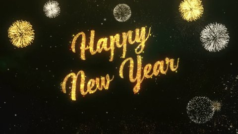 Happy New Year Greeting Text Made from Sparklers Light Dark Night Sky With Colorfull Firework.
