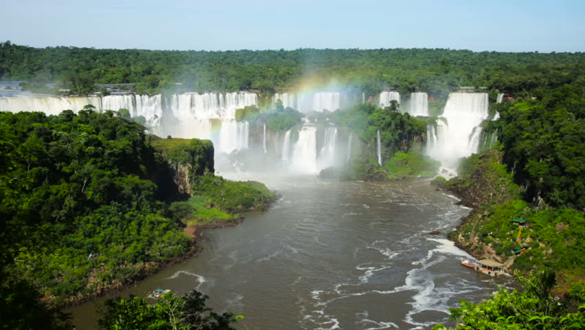 Panoramic view of the massive Iguazu Waterfalls system in Brazil | Shutterstock HD Video #30065806