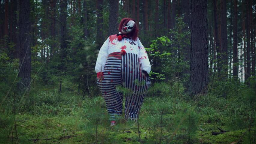 4K Halloween Horror Clown in Forest Standing