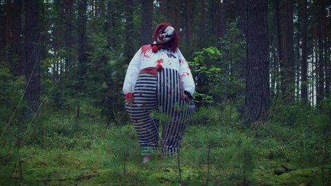 4K Halloween Horror Clown in Forest Standing