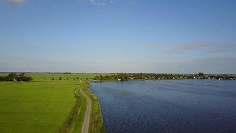 Aerial landscape from Doris Mooltsje the oldest Spider head mill from Friesland near the Oudegaaster Brekken lake in The Netherlands