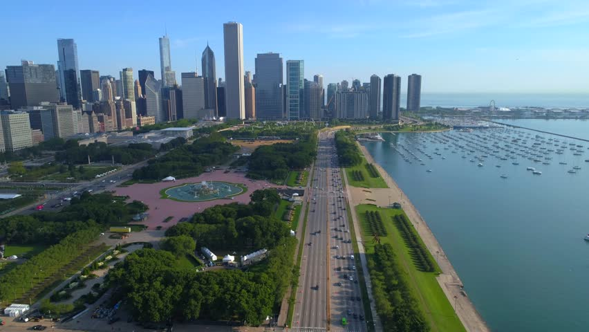 Aerial footage Downtown Chicago IL Lake Shore Drive 4k 60fps