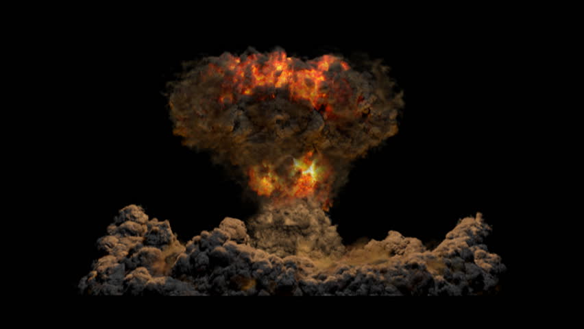 Atomic Bomb with Alpha channel matte. Fiery, Side View. VFX element created using proprietary CG fluid dynamics methods.