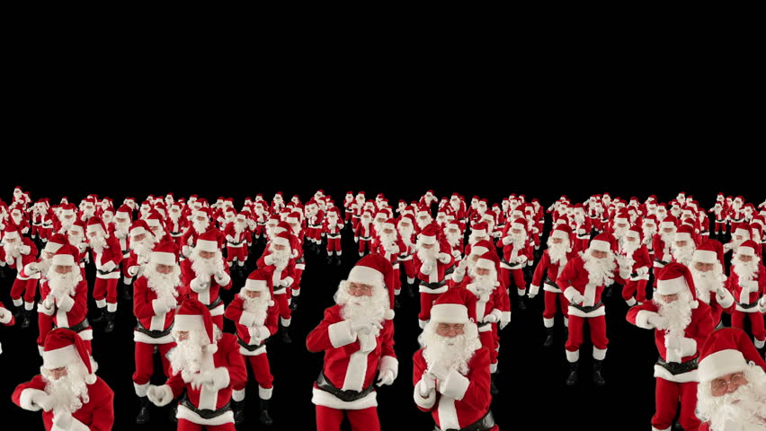 Santa Claus Crowd Dancing, Christmas Party cam fly over, against black