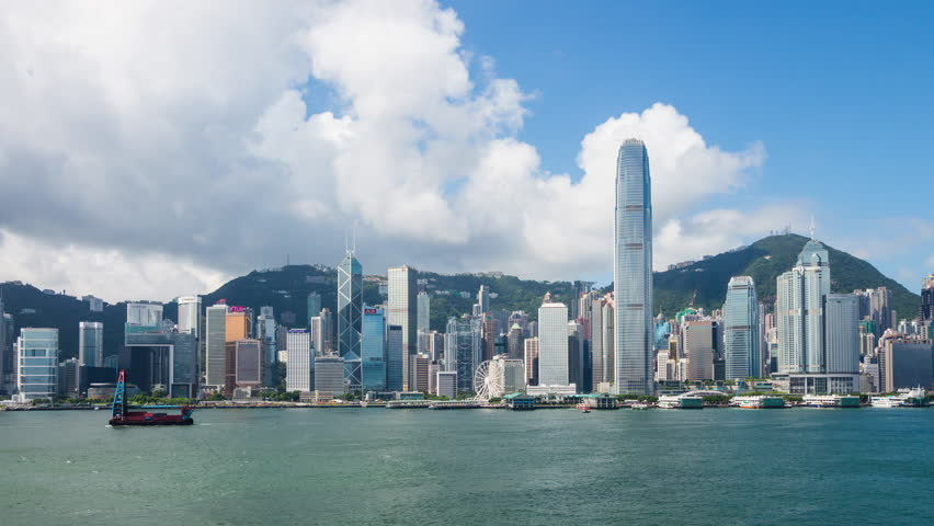 Tmelapse of Hong Kong Victoria harbor with blue sky | Shutterstock HD Video #30160192