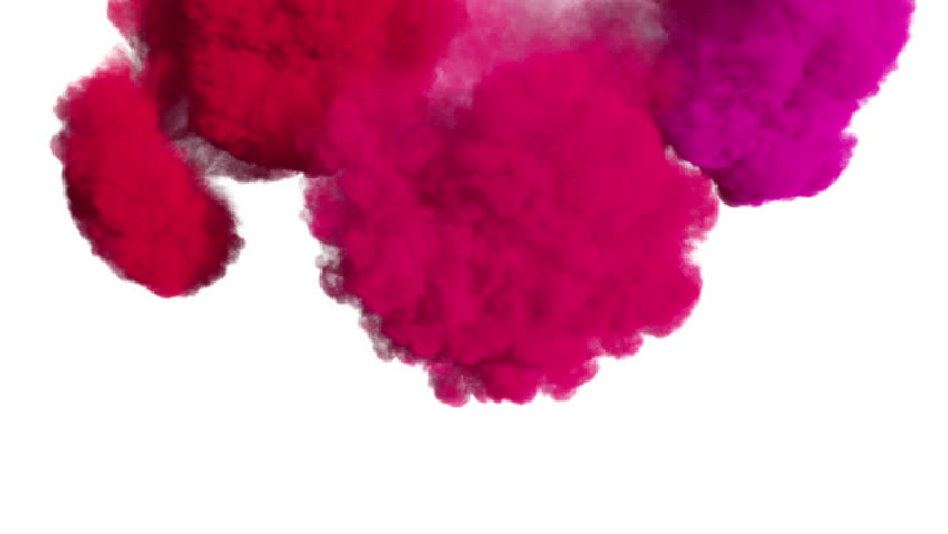 Colored ink spreading in water / colored smoke, overlapping frame from top to down. Good curtain-looking effect. Fluid/Smoke density - low. Separated on pure white background, contains alpha channel.
