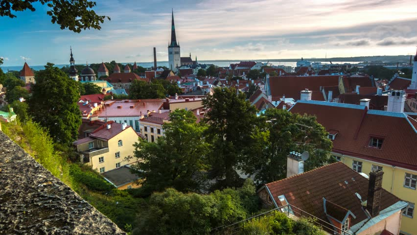 Time lapse panorama of Tallinn city center