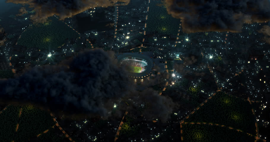 Bird view of a professional sport stadium in the city. 3D modelled