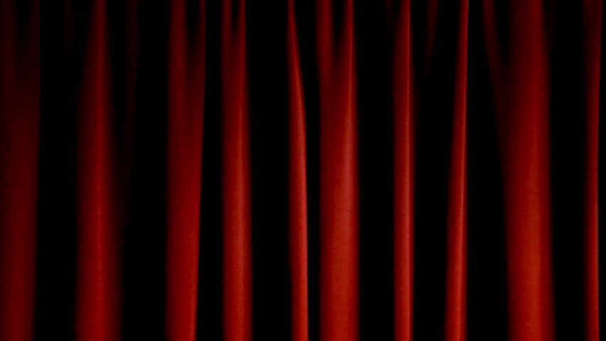 Old Fashioned Elegant Theater Stage With Velvet Curtains That Open Up To Black Background Stock Footage Video 302056