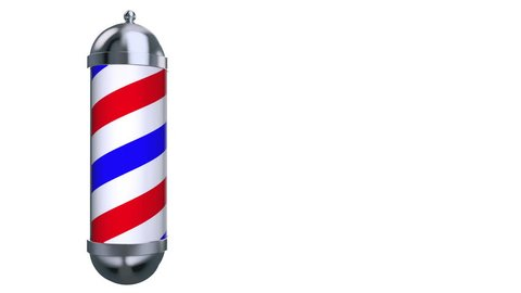 Barber Pole Sign rotate on white background. Red, white and blue sign rotate around axis. Space for design and text on right side. 3D Rendering