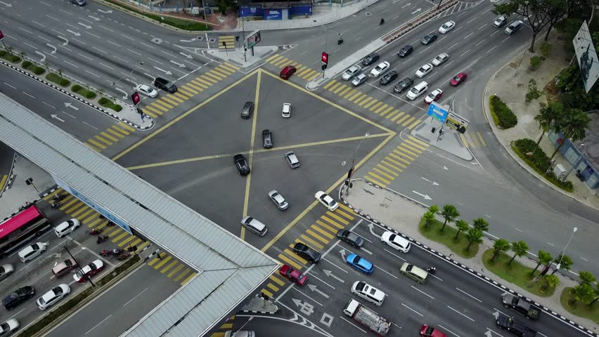 KUALA LUMPUR, MALAYSIA - AUGUST 29, 2017: Aerial view thru drone perspective at Ampang Park four junction during sunny day. This junction located at Jalan Ampang, Kuala Lumpur.  | Shutterstock HD Video #30226036