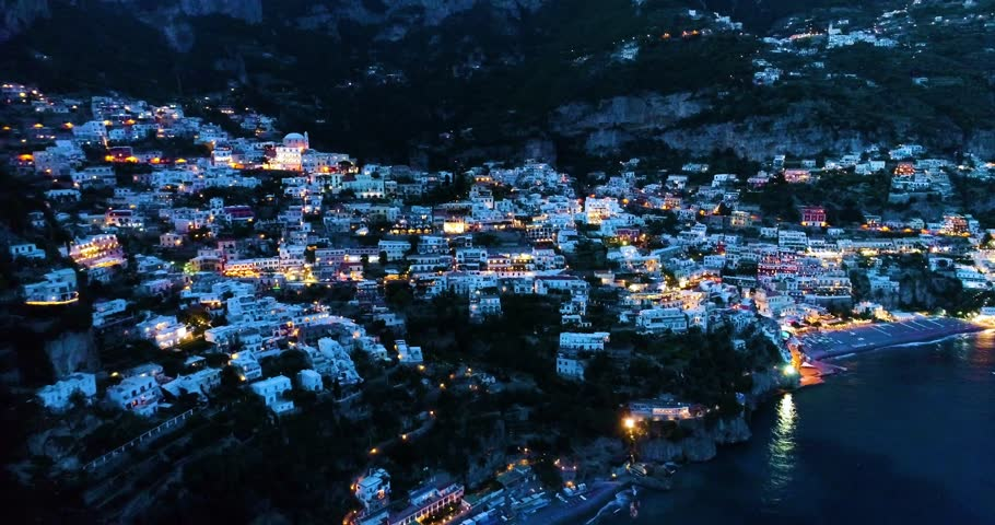 Beautiful flight over Positano at Amalfi Coast in Italy