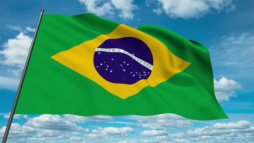 Brasil flag waving against time-lapse clouds background