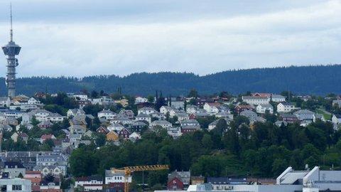 radio tower in city of trondheim,norway