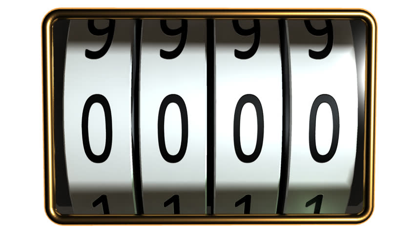 counter with four rolls looping counting from 0000 to 9999