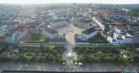 Amalienborg, home of the Danish royal family and Frederik's Church in background with Copenhagen Cityscape.