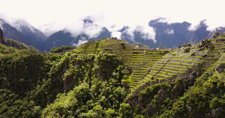 Machu Picchu Peru Aerial v8 Flying low around ancient ruins panning