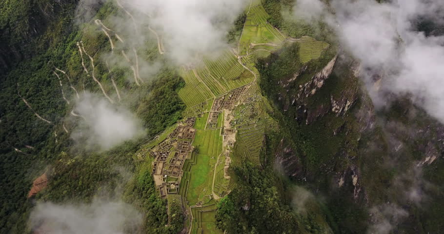 Machu Picchu Peru Aerial v2 Birdseye view flying over ancient ruins