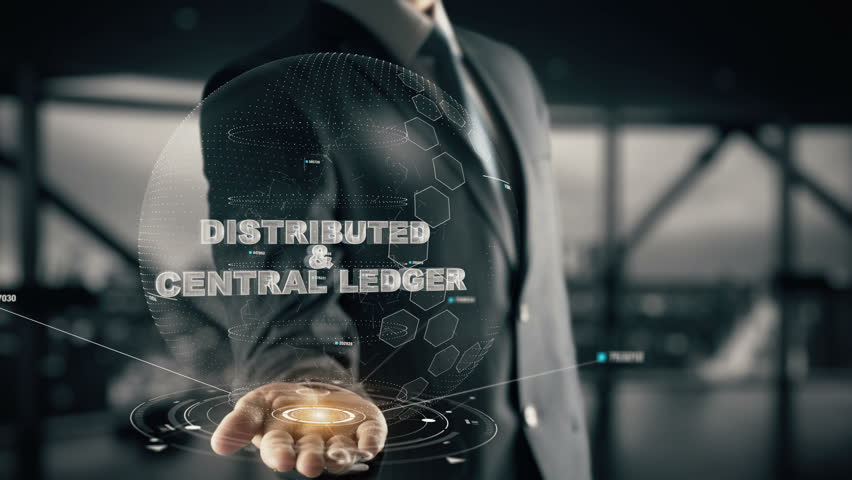 Distributed & Central Ledger with hologram businessman concept