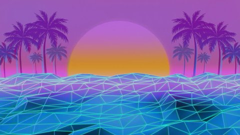 80s Retro Futurism Sun Beach Background