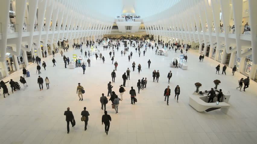 NEW YORK, NEW YORK, April 22nd 2017: The Oculus World Trade Center Transportation Hub Interior With People Walking Inside