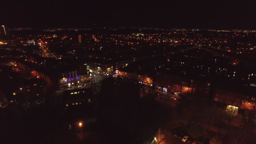 NIGHT TIME OVER GLASGOW, SCOTLAND. 4K DOWNSCALED TO 1080P. 4K VERSION AVAILABLE ON REQUEST.